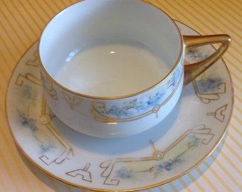 TeaCups Rosenthal Donatello Hand Painted Blue Floral China Teacup Set of 4 / Vintage China Set / China Set / Vintage / Fine China