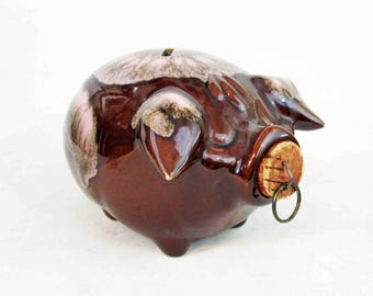 Vintage Corky Pig Pottery Coin Bank by Hull Pottery in Brown Glaze. Circa 1950's.