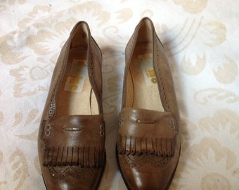 70s Grey Loafers Khaki Fringe Slip Ons US 5,5 EU 36 UK 3,5