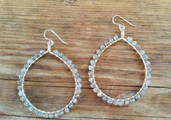Large labradorite sterling silver wire wrapped teardrop shaped earrings