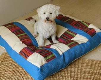 Dog Bed Cover-Denim Color Cover-Light Sand Color-Two Covers in One-Bohemian dog bed covers-Box style covers-Heavy Duty Zipper-Washable