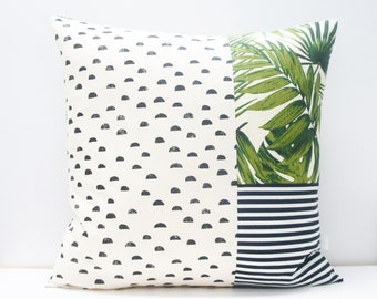 Pillow Cover - Patchwork Pillow Cover, 20x20, black and white stripes, green palms, palm leaves, palm print, palm springs, dots