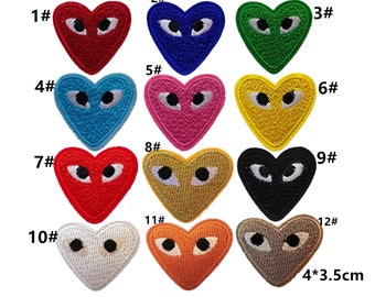 iron on embroidery patches,small hearts eyes patches,embroidered eyes hearts appliques,badges,small pieces patches for denim jeans blouse