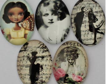 Set of 5 assorted characters cabochons
