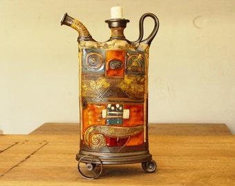 Ceramics and Pottery Decor, Teapot with Iron Elements, Rustic Home Decor, Kitchen Decor, Handmade Pottery, Danko