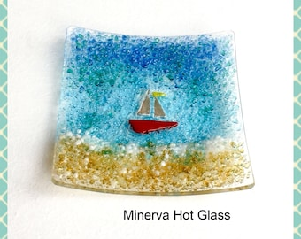 Fused Glass, Dish, Trinket Dish,  Candle Tea Light Holder- hand crafted by Minerva Hot Glass