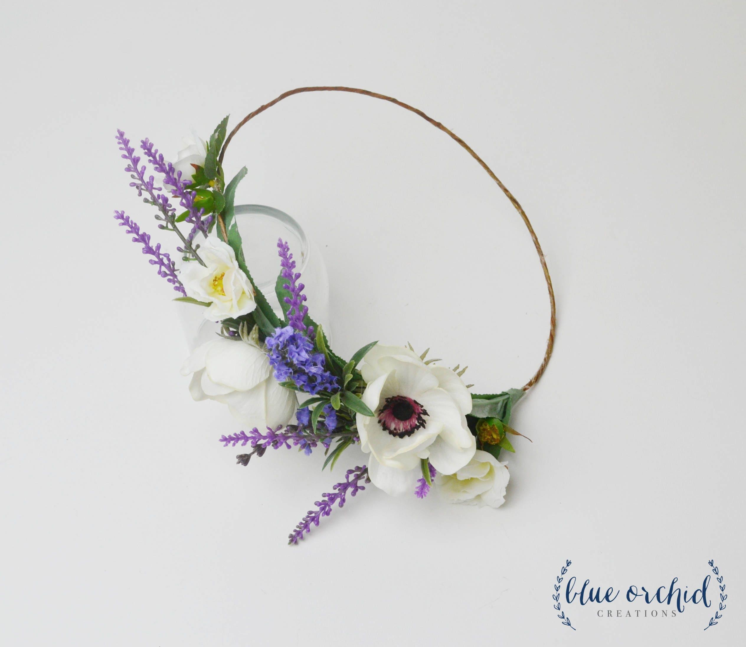Flower crown silk flower crown faux flower crown lavender zoom izmirmasajfo