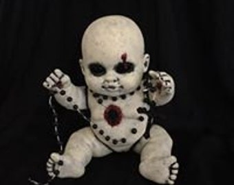 One of a Kind Horror Art Doll OOAK Rosy With Her Rosary Stigmata Repainted Zombie Baby Bloody Goth Dolly
