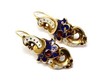 Antique Victorian French 14k gold white blue enamel garnet scroll shaped earrings