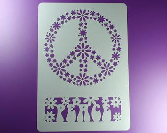Stencil peace sign lettering flower BA19