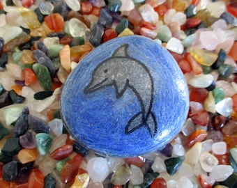 Dolphin paperweight stone handpainted