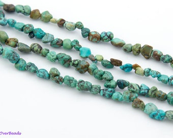 "16"" Full Strand Natual TURQUOISE Blue Green Brown Chip Beads, approx 3mm - 8mm,OV03"