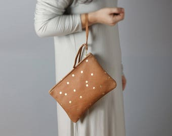 Leather wallet with gold dots - gold dots, pouch, confetti, grey clutch