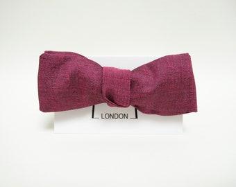 Fuchsia silk taffeta bow tie