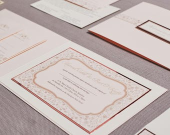 Wedding Invitation Suite Blush and Rose gold