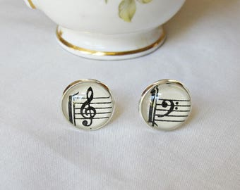 Music Jewelry For Women Earrings - Ear Studs Posts Treble Bass Clef - Sheet Musician Vintage Upcycled Silver - Round Pearl Double Sided