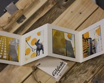 Minileporello Yellow New York mit Hülle, Guggenheim, City Life, Gelb, Faltalbum, Hund in New York, Wolkenkratzer, Pier 16, Brooklyn Bridge