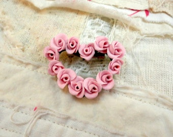 Pink Rose Heart Pin ~ Handmade Brooch ~ Valentine
