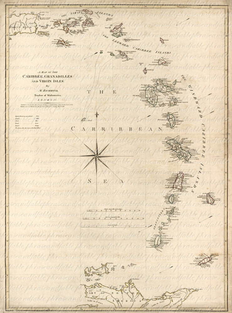 Map Of The Caribbean Sea From 1700s 114 West Indies