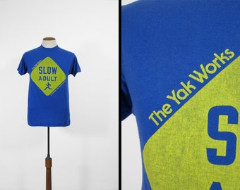 Vintage 80s Yak Works T-shirt Seattle Hiking Supply Slow Adult Tee - Medium / Large