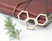 Geometric necklace, woode...