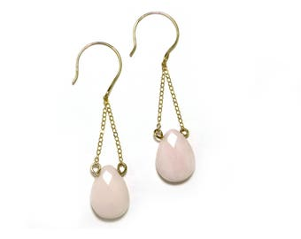 Pink Peruvian Opal Earrings, Dangle Opal Earrings, Pink Opal Earrings, Pink and Gold Earrings, Bridesmaid Jewelry, by Durango Rose