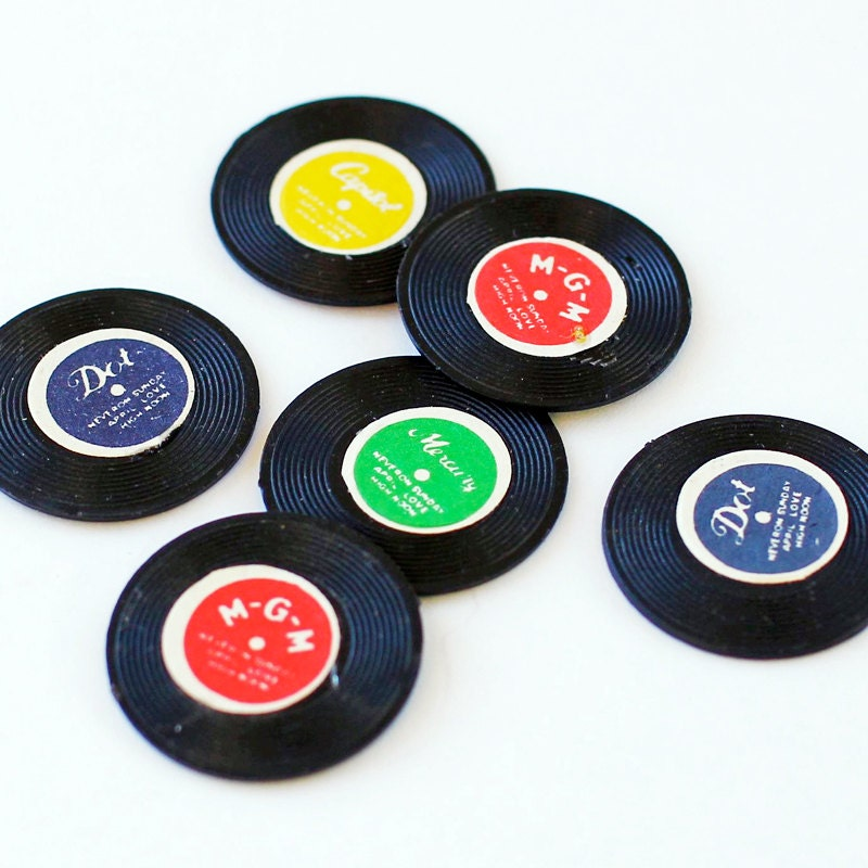 Vintage Record Charms 12 Miniature Records Plastic 70s