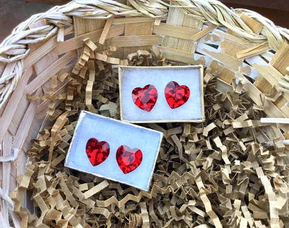 Swarovski Crystal Vintage Heart Stud Earrings 14mm Custom Crafted Valentine Love set w/ Silver tone Titanium Spiral Hypoallergenic Findings