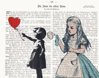 Alice in wonderland Art Alice Banksy Dictionary Art Street Art poster Print Illustration Art Wall Decor
