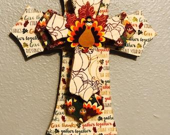 Fall Thanksgiving Layer Cross Fall Thanksgiving Seasonal Wall Decor Door Hanger