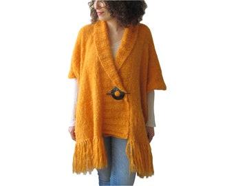 Plus Size Cardigan, Plus Size Kimono Cardigan, Wool Hand Knitted Cardigan, Oversized Cardigan, Blanket Cardigan with Fringes, Fringe