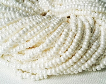 FULL HANK 11/0 or 8/0 Opaque white luster Czech glass seed beads 12 stands for bead weaving, kumihimo, embroidery, costume embellishment