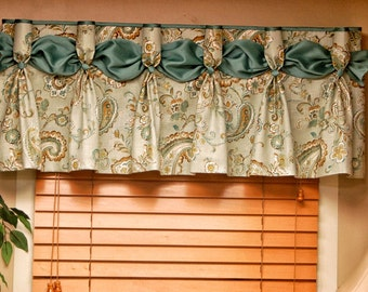 "Custom DANIELLE  Hidden Rod Pocket® Valance fits 30""- 44"" window, Pleated Valance, Made with your fabrics, my LABOR and lining"