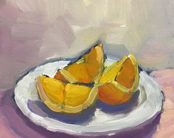 Orange Slices of Light Small Still Life Oil Painting on Canvas