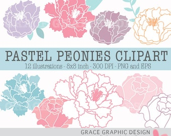 Flower Clipart, Pastel Peonie Clipart, Digital Download Commercial Use Vector Floral Artwork, Pink Peony Clipart, Purple Peony Clipart, EPS