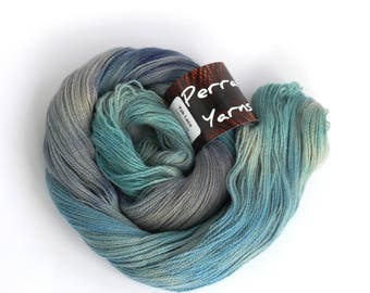 Pure yak handdyed laceweight yarn, 100% yak lace knitting crochet Perran Yarns Ocean Blue variegated yarn skein, free crochet pattern