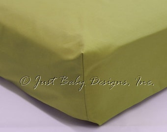 Fitted Crib Sheet - Olive Solid Cotton