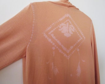 Boho cardigan, apricot up-cycled and hand drawn lotus tribal ethnic design.