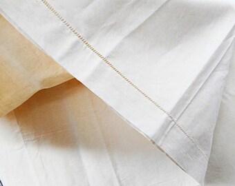 "French Linen Metis Ladder Stitch Header 74"" X 108"" Vintage Flat Bed Sheet (C701)"