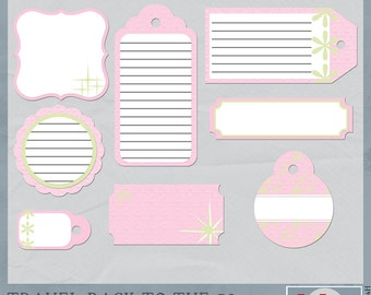 Travel Back in Time to the 50s Pink Journaling Tags