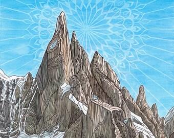 Cerro Torre 9x12 Print - Mountain Art Giclee Print - Rock Climbing, Alpine Climbing Art