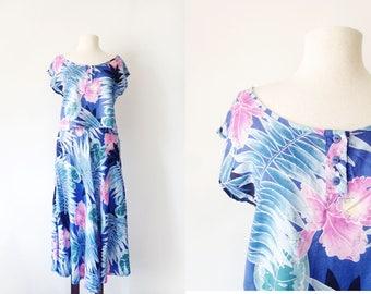 Vintage 80s Purple Pink and Bluse Hawaiian Print Rayon Set