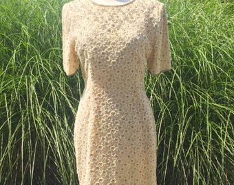 VTG Stenay Beaded Dress, Cream Beaded Dress, Vintage Stenay Dress, VIntage Beaded Dress, VTG Beaded Dress, Vintage Dress, Beaded Lace Dress