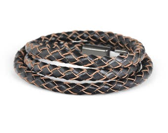Braid Leather Bracelet in Antique Brown