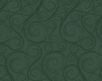 Green Swirl Fabric, Henry Glass Holiday Wishes 6930 66, Green Christmas Quilt Fabric by Jan Shade Beach, Cotton