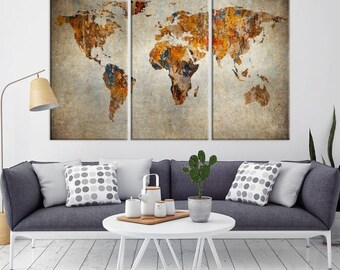 World map canvas etsy large wall art world map canvas print grunge watercolor world map travel canvas print gumiabroncs Gallery