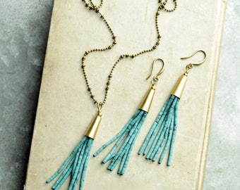 Beaded Tassel Necklace and Earrings Set,Turquoise,  Choose a Beaded Tassel Color