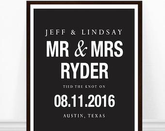 Wedding Print, Wedding Gift, Black and White Wedding, Personalized Art Print, Minimalist Print, Personalized Wedding Gift