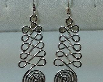 Sterling silver swirl design dangle earrings