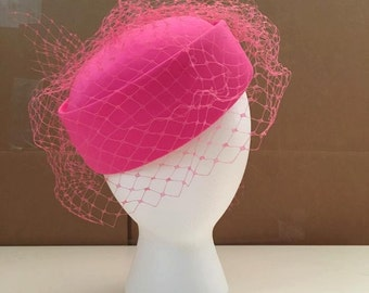 Marc Valerio Designs Pink Pillbox Hat